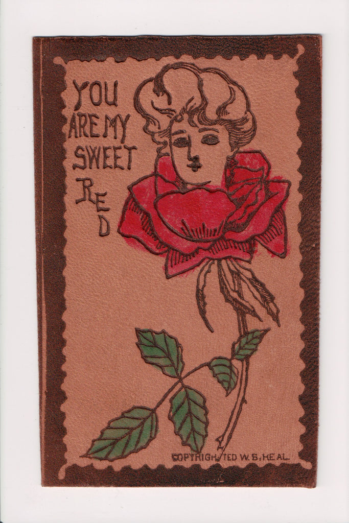 Leather Postcard - You are my Sweet Red Rose - COLLINWOOD, OH dpo cancel - cr003