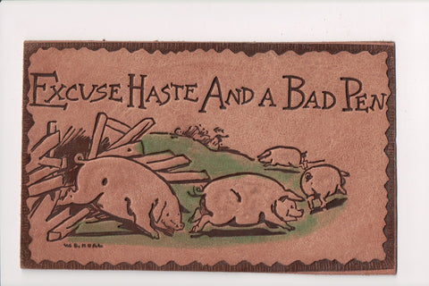 Leather Postcard - Pigs escaping its pen - @1907 W B Heal - F09294