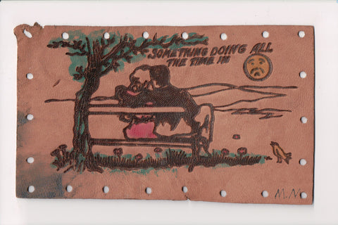Leather Postcard - Something doing all the time in - J03140
