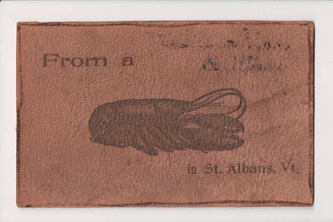 Leather Postcard - shows a large lobster (from St Albans, VT) - @1905 - J03265