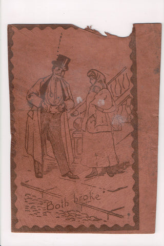 Leather (no postcard back) - BOTH BROKE - well dressed man, lady baby - ME0010