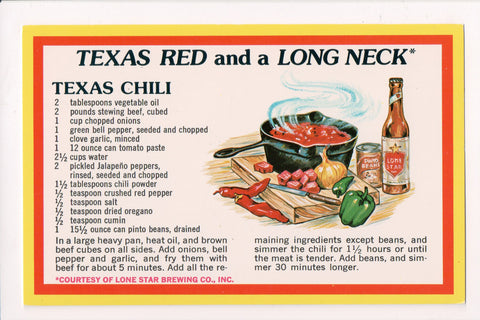 TX, Terlingua - Lone Star beer Advertisement - Chili Cook Off Recipe - Q-0167