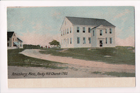 MA, Amesbury - Rocky Hill Church 1785 - vintage postcard - G06020