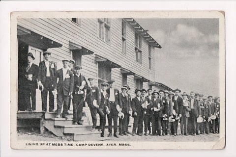 MA, Ayer - Camp Devens, men lining up at Mess time postcard - A06516