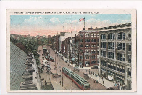 MA, Boston - Boylston St Subway Entrance - A07367 - postcard **DAMAGED / AS IS**