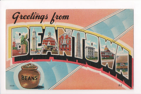 MA, Boston - Greetings from BEANTOWN, Large Letter postcard - C08571