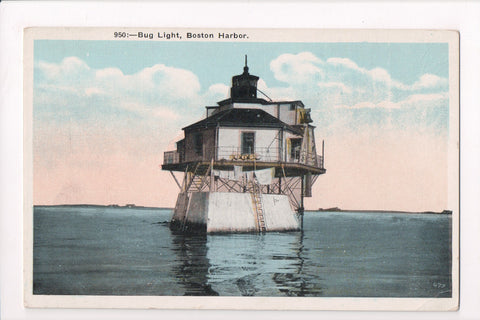 MA, Boston - Bug Light closeup - @1923 lighthouse postcard - cr0545