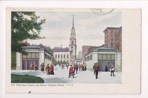 MA, Boston - Subway entrances - ESSEX STREET STATION flag  cancel - w02015