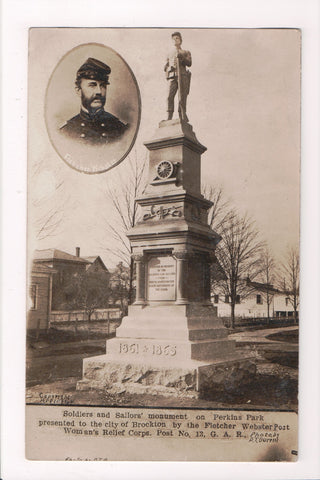MA, Brockton - Perkins Park - Fletcher Webster monument closeup RPPC - T00265