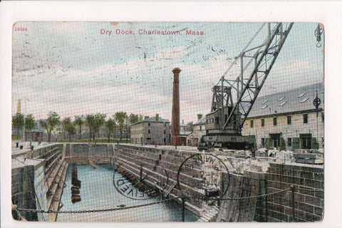 MA, Charlestown - Dry Dock - SOUTH POSTAL STATION flag cancel - w01244