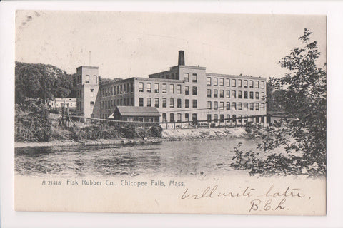 MA, Chicopee Falls - Fisk Rubber Co - 1906 postcard - A12307 (DPO cancel)