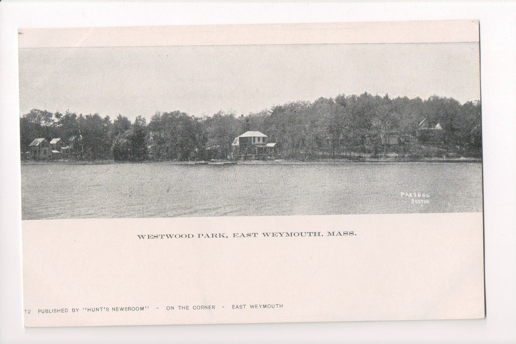 MA, East Weymouth - Westwood Park, lake, buildings - CP0267