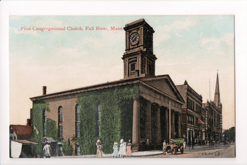 MA, Fall River - First Congregational Church, Sheedys, Browns - CP0145
