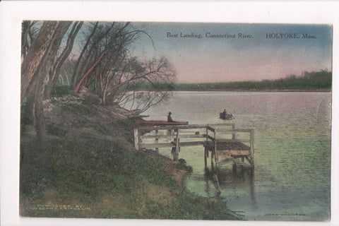 MA, Holyoke - Boat Landing - @1915 postcard with a flag killer - w01614
