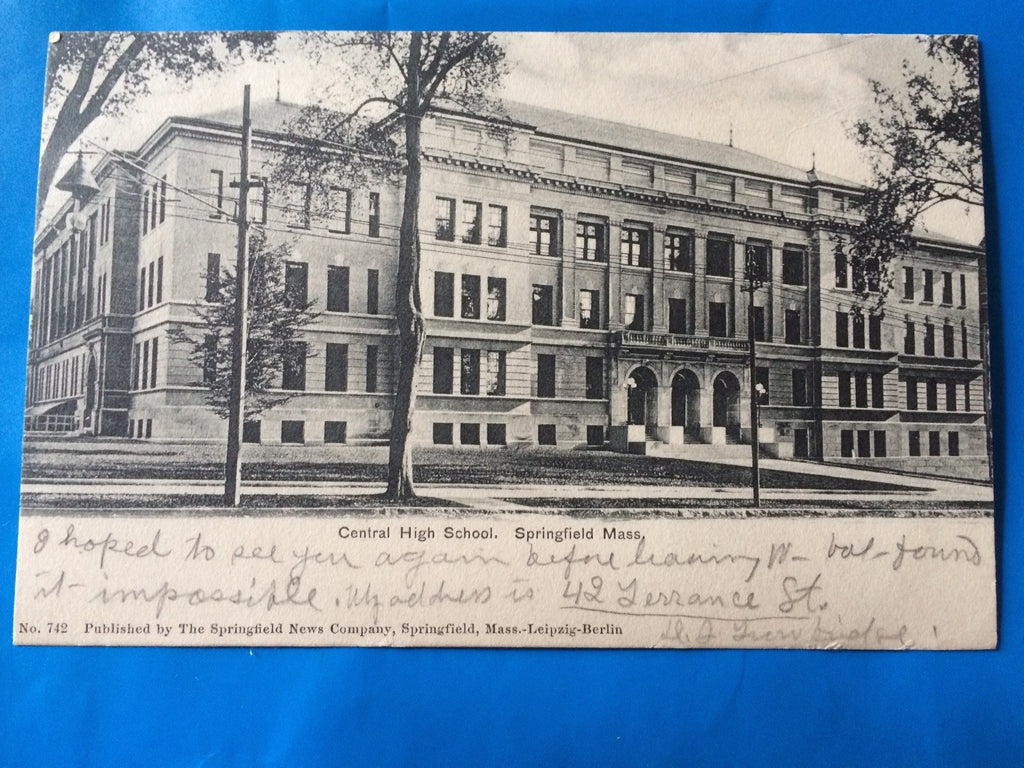 MA, Springfield - Central High School postcard - H15023