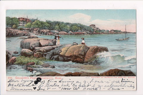 MA, Swampscott - Galloupes Point, people fishing - @1905 postcard - E10188