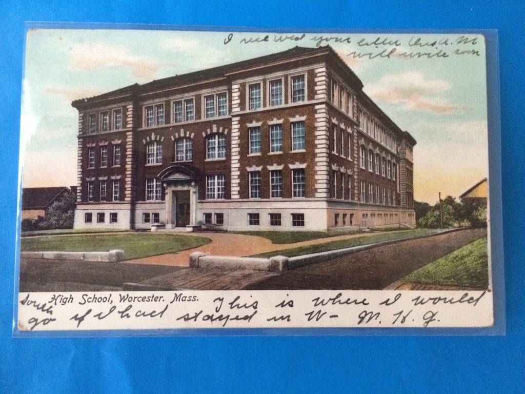 MA, Worcester - High School postcard - H15010