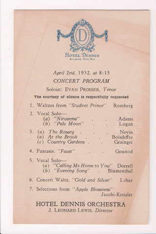 NJ, Atlantic City - Hotel Dennis - 1932 Concert Program- MB0397