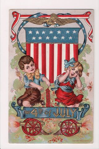 4th of July - Boy, fireworks, girl, flag shield, patriotic postcard - MB0701