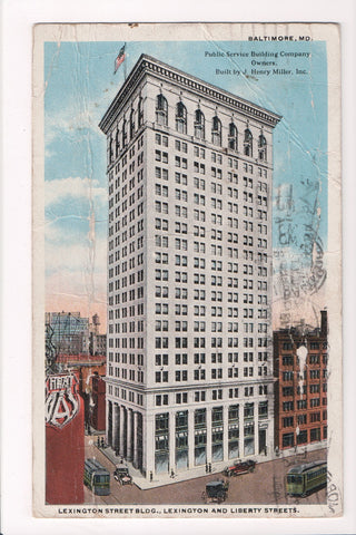 MD, Baltimore - Lexington St building - A07377 - postcard **DAMAGED / AS IS**