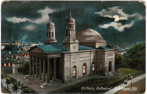 MD, Baltimore - Catholic Cathedral at night - C08560