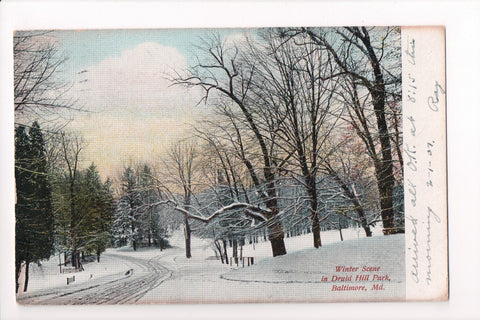 MD, Baltimore - Druid Hill Park in Winter postcard - CP0287