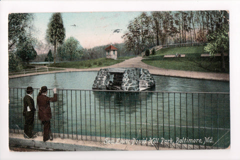 MD, Baltimore - Druid Hill Park Sea Lions postcard - CP0288