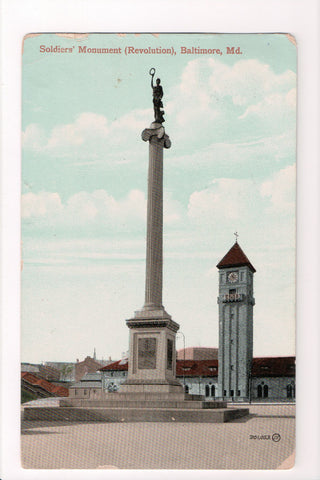 MD, Baltimore - Soldiers Monument (Revolution) postcard - CP0290