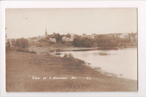 ME, East Boothbay - view of town, including the church - RPPC postcard - C06197