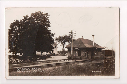 ME, Greene - Greene Depot, Rail road station, house, cars - @1919 RPPC - A06902