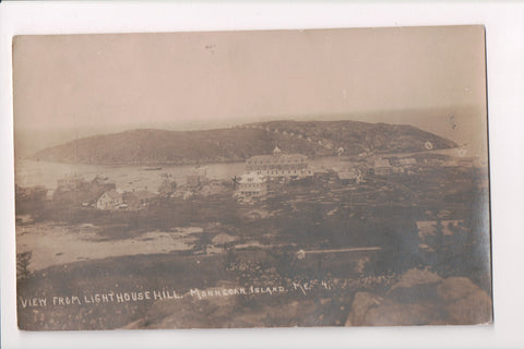 ME, Monhegan Island - view of the town from Lighthouse Hill - RPPC - B06027