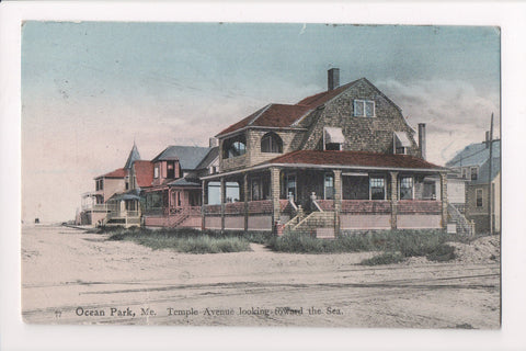 ME, Ocean Park - Temple Ave with houses - @1909 postcard - E10060