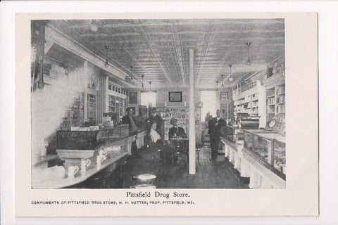 ME, Pittsfield - Drug Store interior, display cases, men - E10024