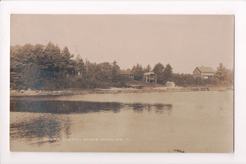 ME, Round Pond - Shore scene, house, camps - @1920 RPPC - A06901