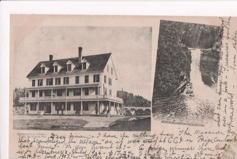 ME, The Forks - The Forks Hotel, Moxie Falls - @1909 postcard - E10068