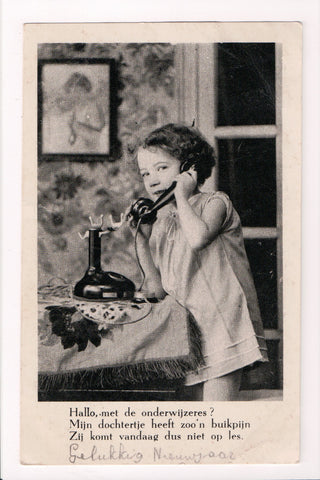 Greetings - Misc - Girl talking on a candle stick phone postcard - D07258