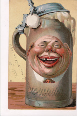 Greetings - Misc - Fantasy Beer STEIN w/mans face - @1906 postcard - EP0103