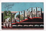 MI, Michigan - Greetings from, Large Letter postcard - W00559