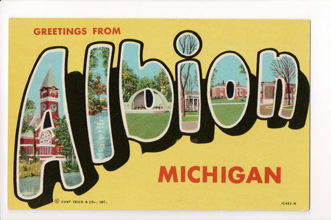 MI, Albion - Greetings from, Large Letter postcard - B08279
