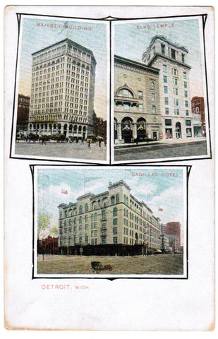 MI, Detroit - Majestic, Elks Temple and Cadillac Hotel postcard - F03047