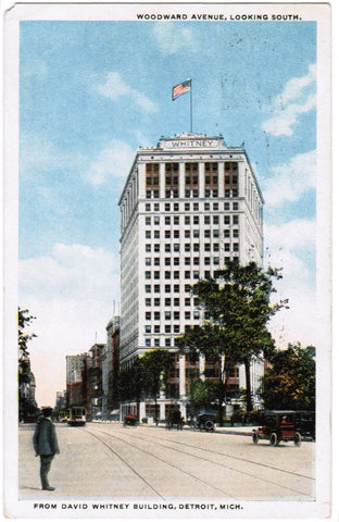 MI, Detroit - Woodward Avenue and Whitney building postcard - F03184
