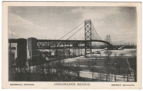 MI, Detroit - Ambassador Bridge postcard - G03188