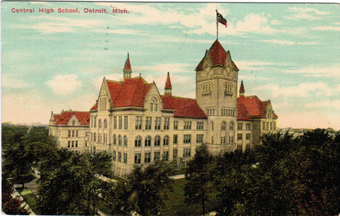 MI, Detroit - Central High School postcard - SH7002