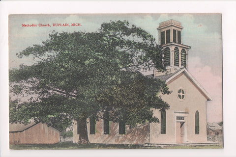 MI, Duplain - Methodist Church close up postcard - A12508