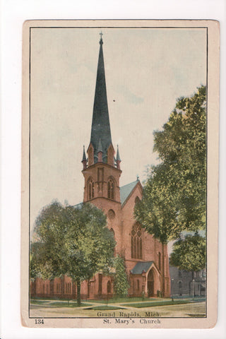 MI, Grand Rapids - St Marys Church postcard - CP0275