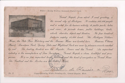 MI, Grand Rapids - Hotel Pantlind, Whites Ready written Souvenir pc - NL0143