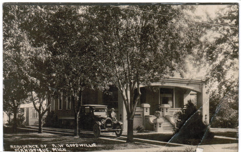 MI, Manistique - R W Goodwillie res, car with license plate RPPC - D04359