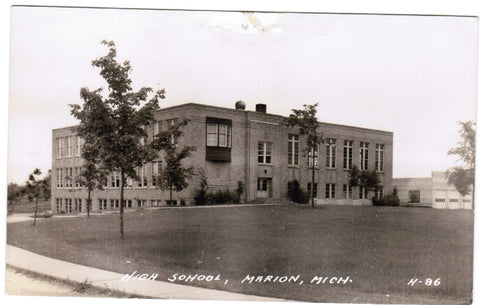 MI, Marion - High School RPPC postcard - D04310