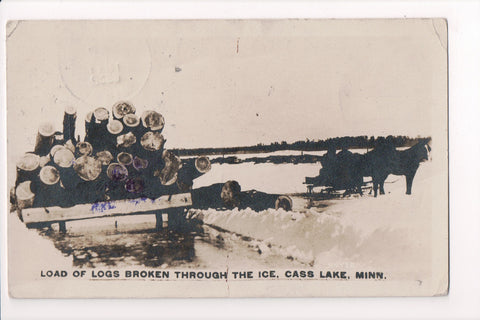 MN, Cass Lake - horses drawing load of logs, thru the ice - RPPC - C06131