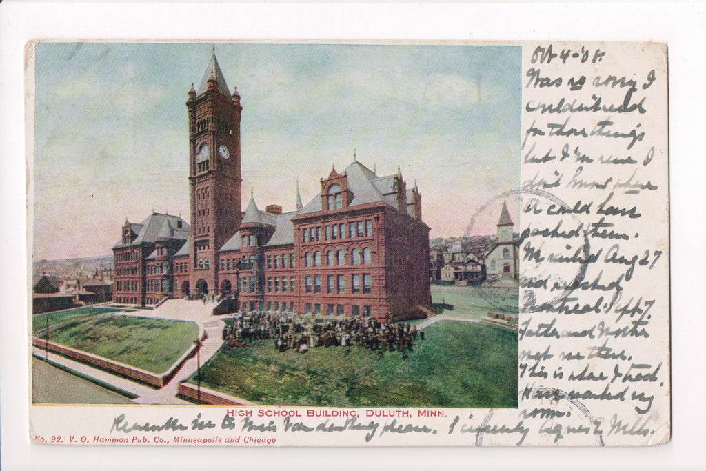 MN, Duluth - High School - V O Hammon postcard - CP0141